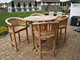 Windsor's Premium Grade A Teak Nassau 47'' Round Dropleaf Bar Table w/4 Kensington Curved Arm Bar Chairs,5 Year Wrty, World's Best Outdoor Furniture! Teak Lasts A Lifetime!