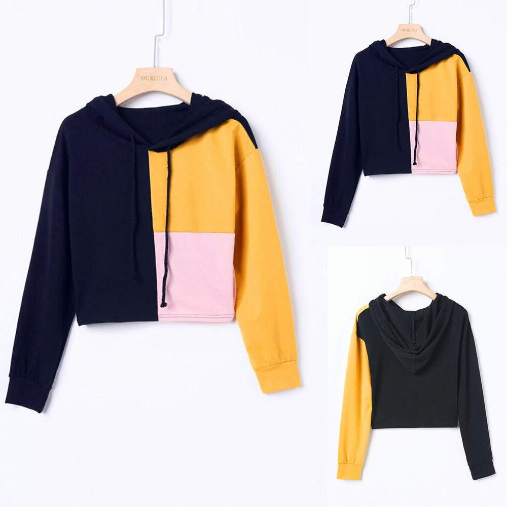 Rambling Women Teen Girls Cropped Hoodies, 2018 Fashion Long Sleeve Patchwork Crop Top Sweatshirt by Rambling (Image #4)