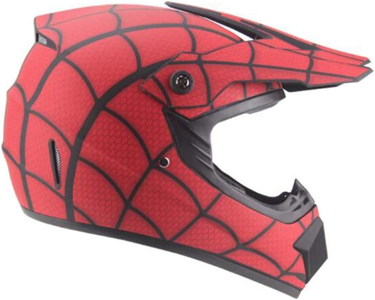 Sunzy Dirt bike helmets teen mini lightweight spider full face kids helmet four seasons unisex//DOT approved red,S