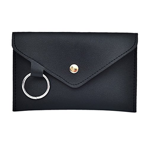 - Hunzed Women【Leather Buckle Bag】Women Pure Color Ring Detachable Belt Messenger Bag (Black)