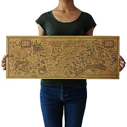 Amazon.com: Harry Potter Magic World Map kraft paper retro poster ...