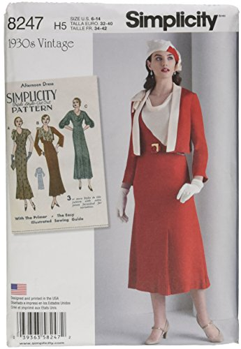(Simplicity Pattern 8247 H5 Misses' 1930s Dress and Jacket by 1930s Vintage, Size H5 (6-8-10-12-14) )