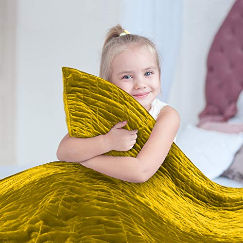 Cheap Weighted Blanket for Kids 10 lb Cool Heavy Blanket for Children 70-100 lbs Soft Yellow Duvet Cover Premium Cotton with Glass Beads Perfect for Boys and Girls Sensory Blankets Size 41x60in. Black Friday & Cyber Monday 2019