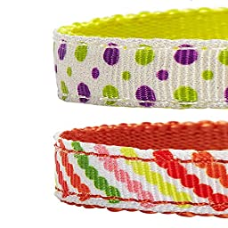 Blueberry Pet Pack of 2 Cat Collars, Clean Dots & Stripes Adjustable Breakaway Cat Collar with Bow Tie & Bell, Neck 9\