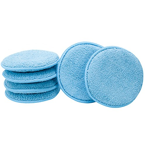 Viking Car Care 862400 Microfiber Applicator Pads - 5 Inch Diameter, Blue, 6 Pack