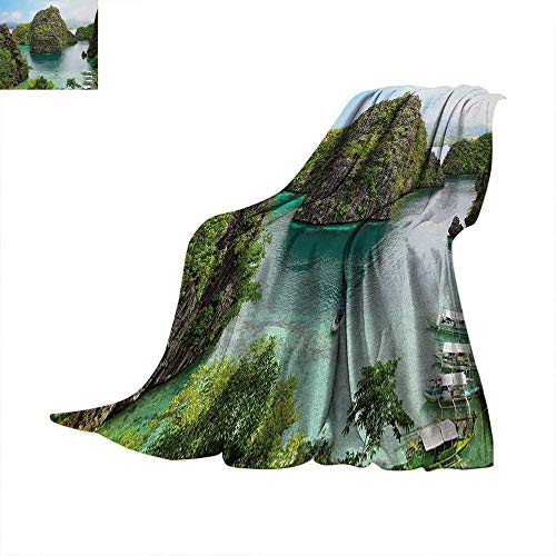 (Island Throw Blanket Landscape of Majestic Cliff in Philippines Wild Hot Nature Resort Off Picture Digital Printing 62