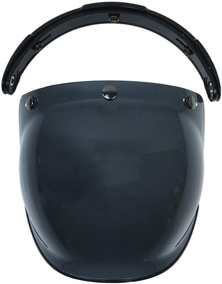 Placage dargent Bulle Visi/ère Open Face Pare-Brise Flip Up Casque Moto Vintage Avec Support Universel /Équitation Anti Brouillard Anti-rayures 3 Snap Protection UV Antipoussi/ère
