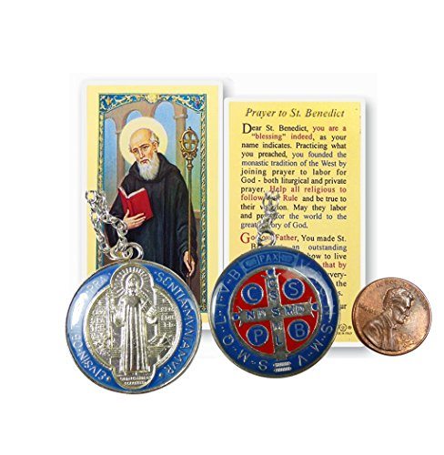 (The St Benedict Medal Pendant with Silver Plated Necklace and Free Prayer Card Blessed By Pope Francis)