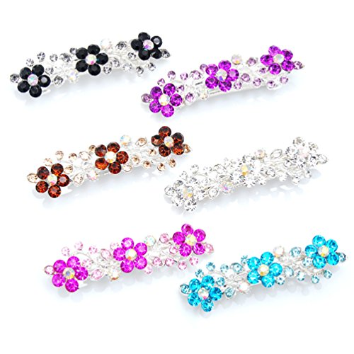 Luxxii (Pack 6) Flower Shaped Rhinestone Crystal Decorated Hair Barrette Clip Hair Pin