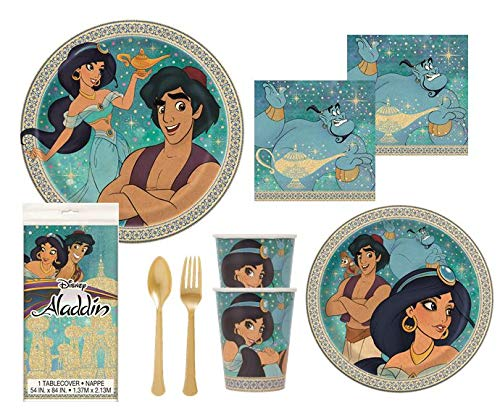 Aladdin Party Supplies Decorations Princess Jasmine Birthday Plates Napkins Cups Table Cover Premium Gold Plastic Cutlery Serves 16 Guests