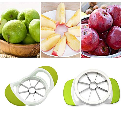 SLKIJDHFB Apple Pear Slicer Cutter and Corer - 430 Grade Stainless Steel - 8 Sharp Blades and Easy Grip,Dish-Washer Safe and Rust Resistant (Green)