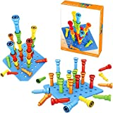 "VIPAMZ Peg Board Set - Montessori Occupational Therapy Fine Motor Skills Toy for Toddlers and Preschoolers. 25 Tall-Stacker Pegs Rubber 8"" Pegboard"