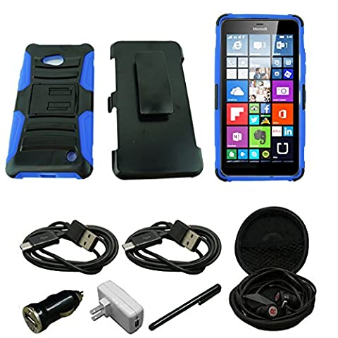Mstechcorp- For Lumia 640 Case, Microsoft Lumia 640 Armor Series - Heavy Duty Dual Layer Holster Case Kick Stand with Locking Belt Swivel Clip - Includes [Car Charger] + [Wall Charger] + [Stylus] + [Hands Free Earphone With Carrying Case] + [2 Data Cables] (H (Nokia Lumia 1520 Belkin Case)