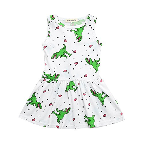 Toddler Baby Girls Cute Princess Dress Cartoon Dinosaur Striped Print 3D Cotton Clothes Outfits 1-5 Years (4T, White) ()