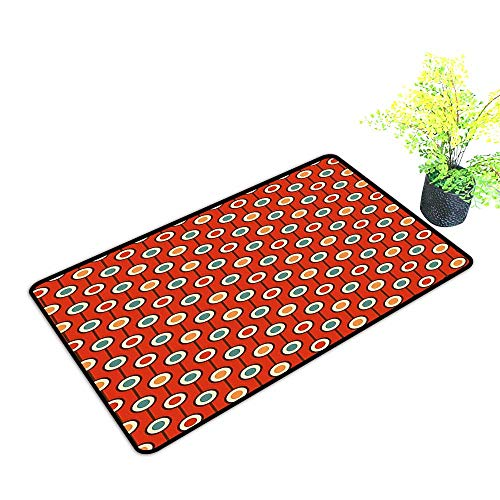 gmnalahome Large Door Mats Shoes Scraper 60s Hippie Style Colorful Geometrical Dotted Repeating Symmetric Print Use for Front Door Entrance W33 x H21 INCH ()
