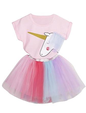 f3885101c84 ARAUS Fille T-shirt Rose Licorne + Jupe en Fil de Couleur 1-8 ans ...