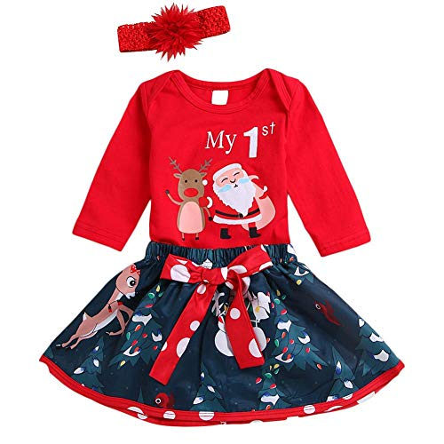 MILWAY My First Christmas Outfit Newborn Baby Girls Xmas Romper + Bowknot Santa Skirt Set with Headband (80/3-6months,