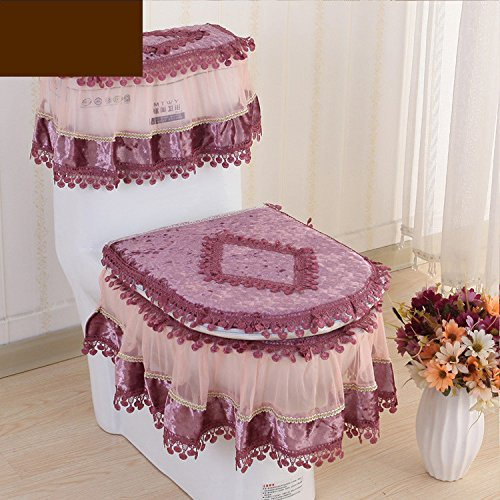 Diamond Purple Velvet WSAD The toilet toilet set set set of three pieces of cloth lace zipper type toilet seat water tank cover lace,Lace