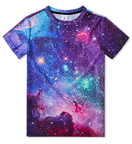 TUONROAD Boy's Essentials Nebular T-Shirt Colorful Cloud Runing Hiking Tee Round Neck Primary School Middle School College 10-12t(Starry,Medium)