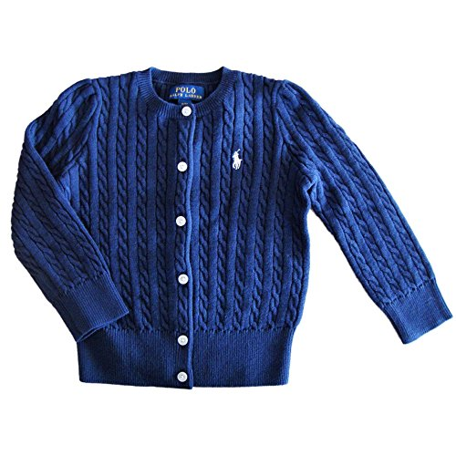 (Ralph Lauren Polo Girls Cotton Knit Cable Cardigan Sweater (5) French Navy)