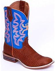 Twisted X YHY0001 Kids Hooey Western Boots - Cognac/Neon Blue