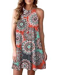 a895e6062a57b Women Halter Neck Boho Print Sleeveless Casual Mini Beachwear Dress Sundress