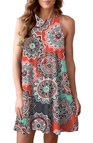 Feiersi Women's Halter Neck Boho Floral Print Loose Casual Sleeveless Short Dress(Round Floral Orange,S)
