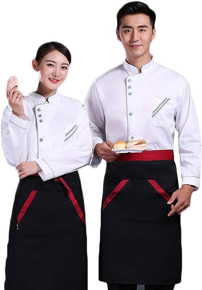 Pinji - Chaqueta de Chef Clástico de Manga Larga para Hombres y Mujeres, Camisa de Cocinero Cocina Uniforme de Trabajo para Restaurante Panadería Hotel: Amazon.es: Ropa y accesorios