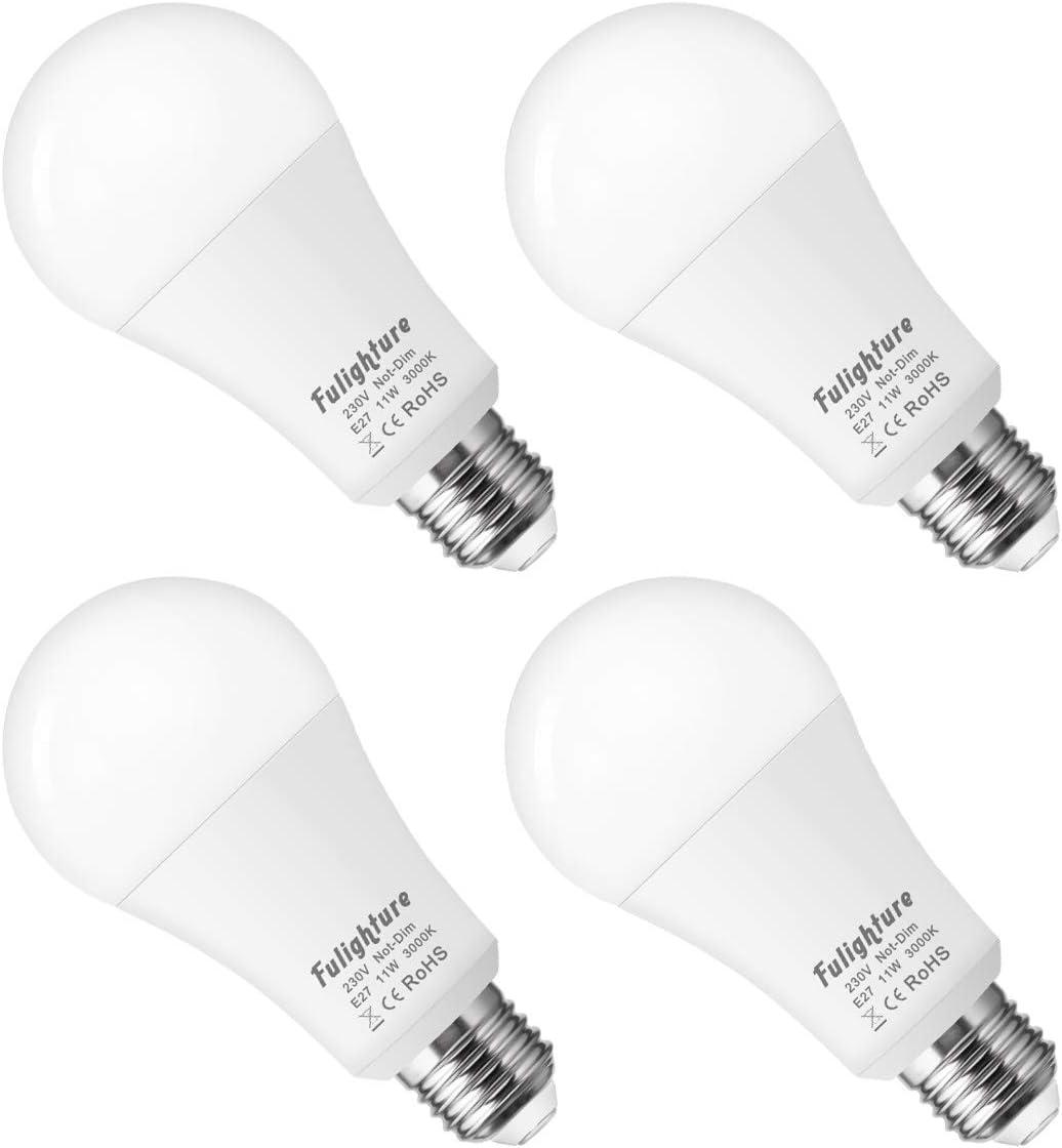 Fulighture LED bombillas E27 11W, 100W equivalente incandescente, A60 3000K suave luz blanca con ultra brillante 1000LM, 240 ° ángulo del haz para el dormitorio, sala de estar, pasillo, paquete de 4