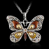 Antique Silver Butterfly Colorful Crystal Pendant Choker Sweater Necklace Chain