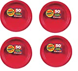Big Party Pack Paper XHauhr Dinner Plates 9-Inch, 50/Pkg, Apple Red (Pack of 4)