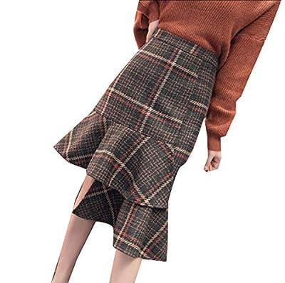 Abetteric Women's Irregular Wool Blend Plaid Vogue Casual Midi Skirts