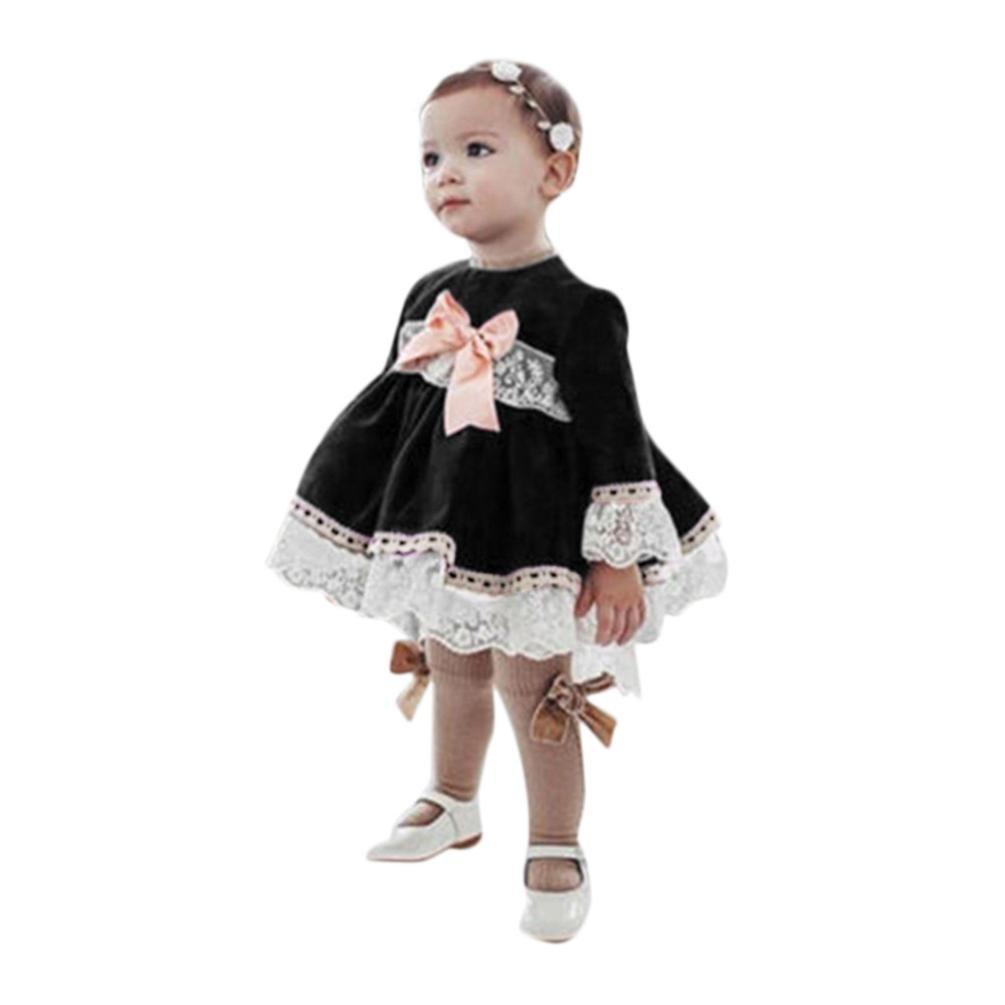 Ode_Joy Abito da bambina con cucitura a fiocco maniche lunghe Vestiti principessa dell'abbigliamento dei bambini di splicing del pizzo Bowknot delle neonate infantili bambino Fashion
