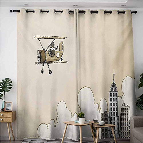 AndyTours Grommet Window Curtains,Vintage Airplane,Cartoon Style Biplane in Modern City Clouds and High Rise Buildings,Curtains for Living Room,W108x108L,Tan White Grey]()