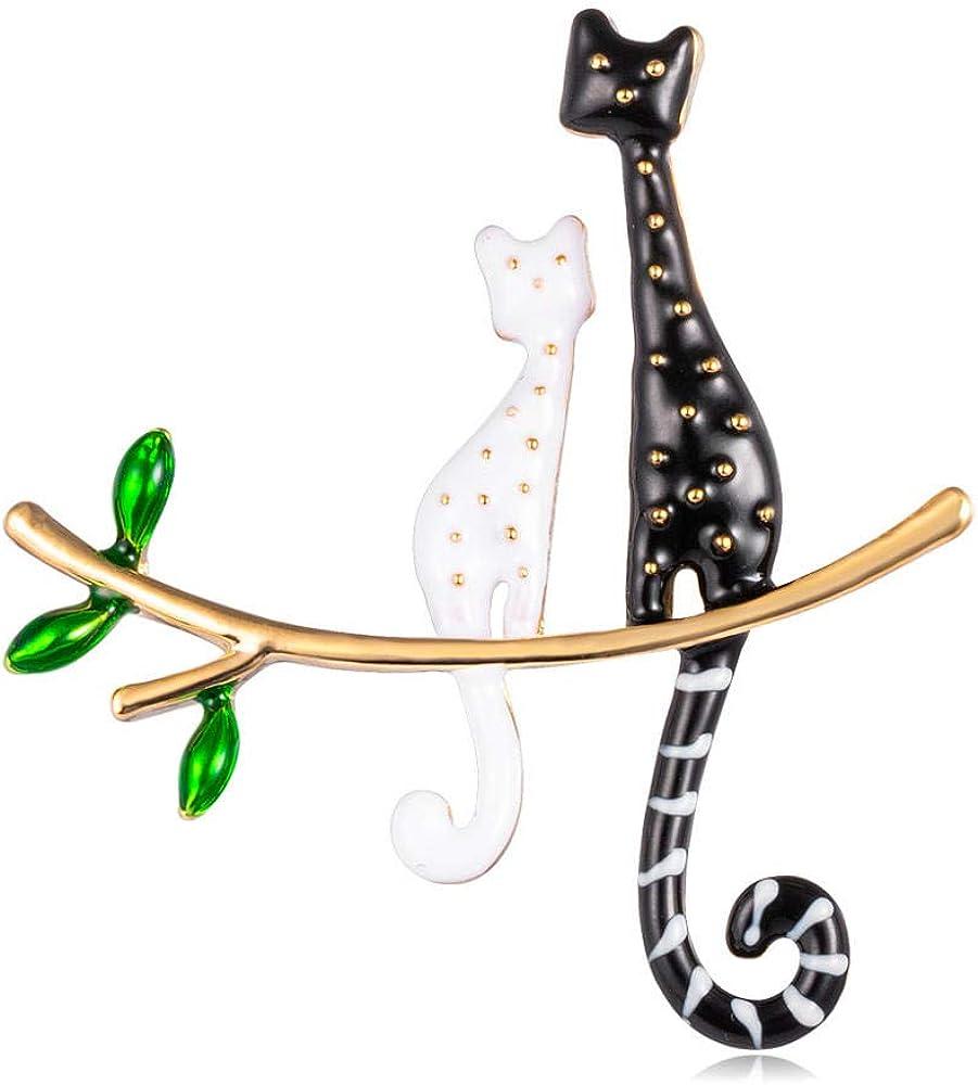 ROTOOY Broche de Gato Lively Pride para Fiesta Concha de Metal Corona Azul Cristal Esmalte Pin Negro Animal Broche Accesorios de joyería