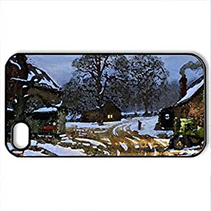 Winter - Case Cover for iPhone 4 and 4s (Farms Series, Watercolor style, Black)