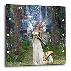 3dRose dpp_167132_1 Beautiful White Fairy, in Mushroom Forest Blessing with Fairy Dust-Wall Clock, 10 by 10-Inch