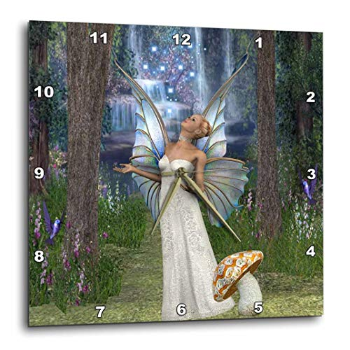 3dRose dpp_167132_1 Beautiful White Fairy, in Mushroom Forest Blessing with Fairy Dust-Wall Clock, 10 by -