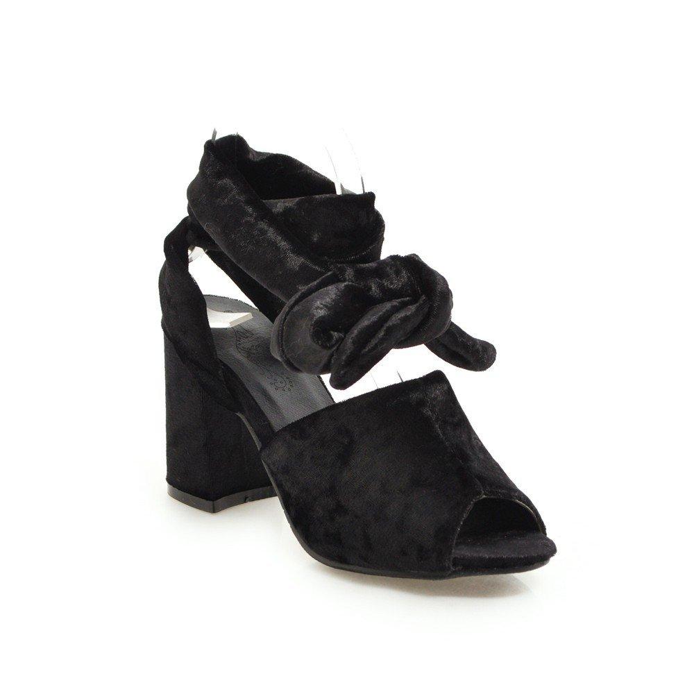 Unbekannt Unbekannt Unbekannt Sandalen Damen High Heel Dick mit Fisch Mund Fußschlaufen Große Römische Schuhe Schwarz 42 06c02d