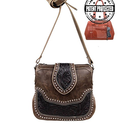 Montana West Ladies Concealed Gun Messenger Purse Tooled Genuine Leather Coffee
