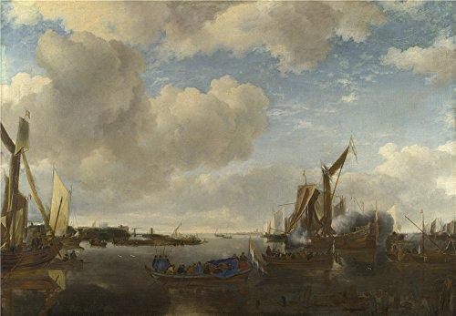 Oil painting ` Jan Van De Cappelle A川シーンwith a Dutch Yacht firing a Salute `印刷ポリエステルキャンバスに、12x 17インチ/ 30x 44cm、最高のダイニングルームアートワークとホームギャラリーアートとギフトはこの高定義アート装飾プリントキャンバスの商品画像