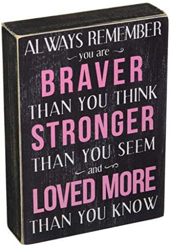 Kelli's Shop Braver Always Remember Box Sign - 7 x 5 Inches, Multicolor