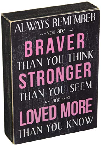 - Kelli's Shop Braver Always Remember Box Sign - 7 x 5 Inches, Multicolor