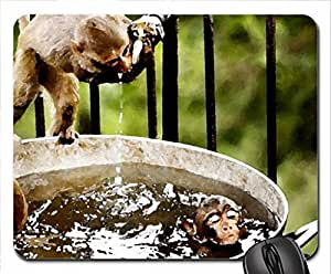 Monkeys Drinking Water Mouse Pad, Mousepad (Watercolor style)