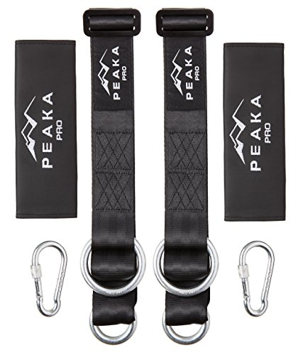 Adjustable Tree Swing Straps Hanging Kit - Extra Long Hammock & Swing Hangers Set - Professional Climbing Hardware - Ultra Strong 2,200+ LBS - Safe for Toddlers and Children - By Peaka Pro (Surfboard Swing)