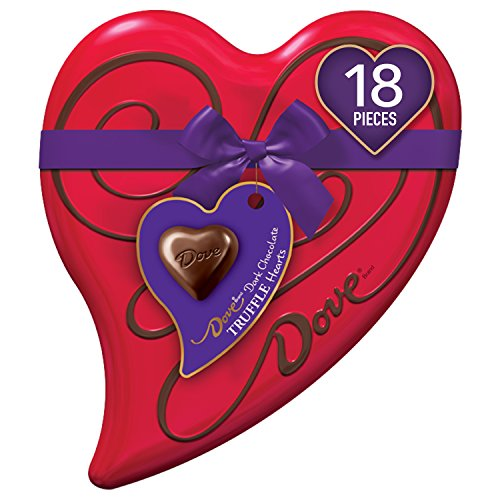 DOVE Valentine's Dark Chocolate Truffles Heart Gift Box 6.5-Ounce Tin, 18 Pieces