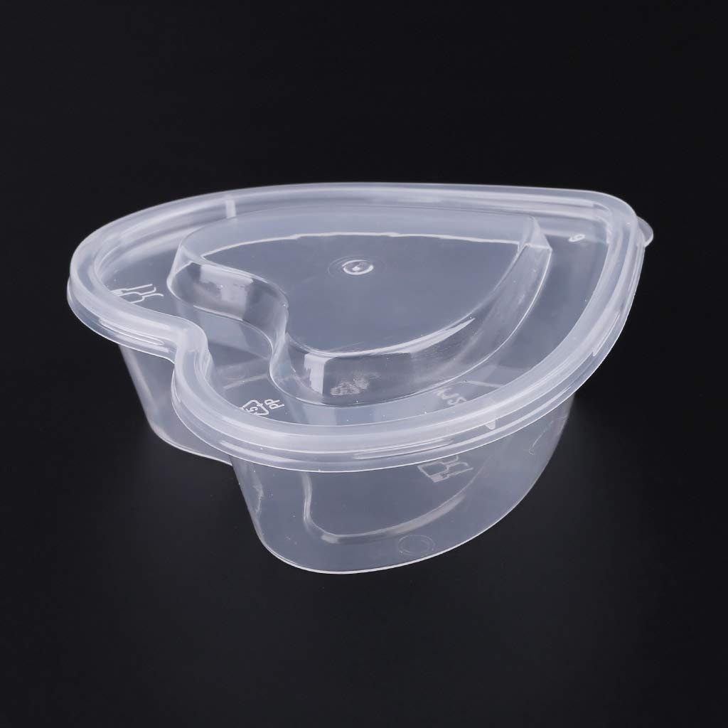 JUNESUN Heart Shape Clear Plastic Sauce Chutney Cups Food Container Slime Storage Box Case with Lid 120ml by JUNESUN (Image #5)