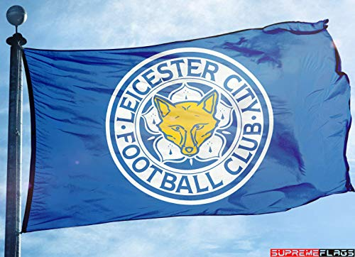 (Leicester City Flag Banner 3x5 ft Foxes Blue England Premier Football Soccer)