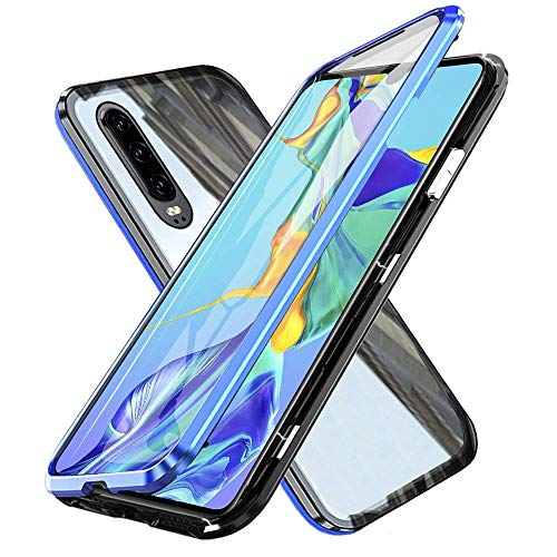Fvntuey Compatible with Huawei P30 Lite/Nova 4e [Magnetic Adsorption Case] Metal Frame Clear Slim Fit [Ultra-Thin] Shell Tempered Glass Double Cover 360° Bumper Lightweight Cover for P30 Lite(Blue)