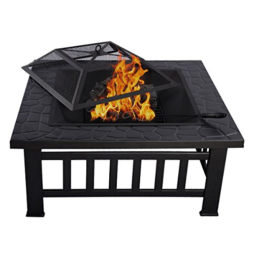 Magshion Fire Pit Fire Bowl Outdoor BBQ Burning Grill Hea...